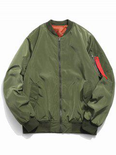 Letter Print Zip Fly Bomber Jacket - Army Green M