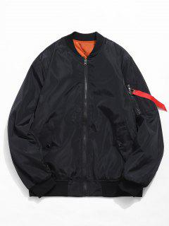 Zip Fly Solid Color Bomber Jacket - Black Xl