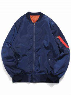 Letter Print Zip Fly Bomber Jacket - Midnight Blue M