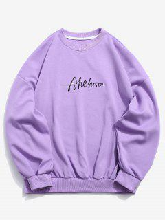 Chest Embroidered Letter Pullover Sweatshirt - Purple M
