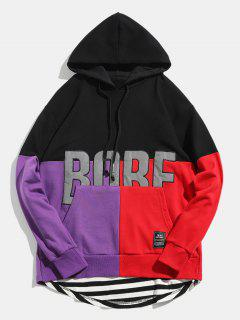Reflective Fabric Back Zipper Embellish Pullover Hoodie - Black L