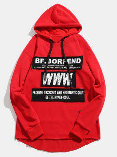 Pullover Reflective Fabric Spliced High Low Hoodie - Red M