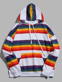 Rainbow Striped Kangaroo Pocket Pullover Hoodie - Multi 2xl