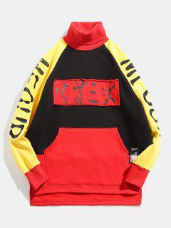 Cartoon Printed High Neck Fleece Pullover Hoodie - Black S