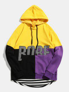 Reflective Fabric Back Zipper Embellish Pullover Hoodie - Yellow L