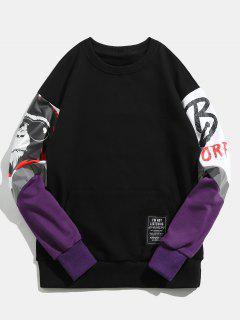 Pullover Scared Ghosts Printed Hoodie - Black M