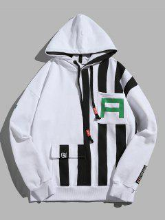 Wide Striped Pullover Hoodie - White M