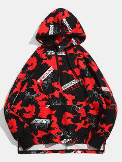 Sweat à Capuche Pull-over Hip Hop Camouflage - Rouge M