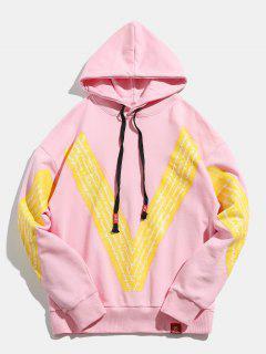 Pullover Hip Hop Letter Print Hoodie - Pink M