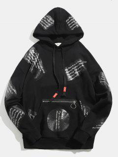 Letter Pattern Zip Embellished Pullover Hoodie - Black M