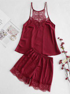 Satin Lace Panel Sheer Sleep Set - Red Wine Xl