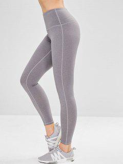Yoga High Waisted Athletic Leggings - Gray M