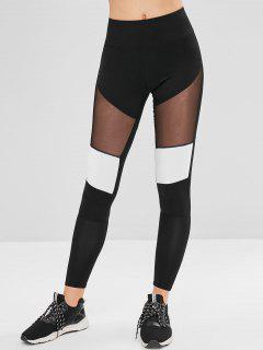 Athletic Mesh Panel Gym Leggings - Black M