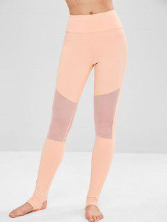 Yoga Mesh Panel Sport Gym Leggings - Orange Pink M