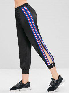 Striped Slit Jogger Pants - Black L