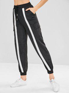 Pantalones De Bolsillo De Color Bloque De Cordón - Negro L