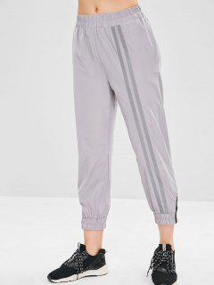 Reflective Design Zip Embellished Jogger Pants - Light Gray M