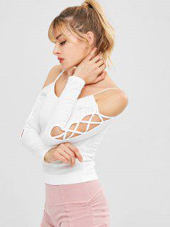 Lattice Padded Sport Gym Tee - White S