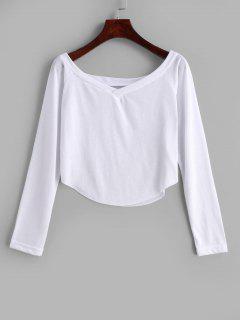 Camiseta Con Cuello En V Sin Mangas - Blanco S