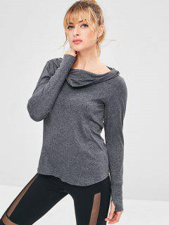 Heathered Hooded Sport Running Tee - Dark Gray L