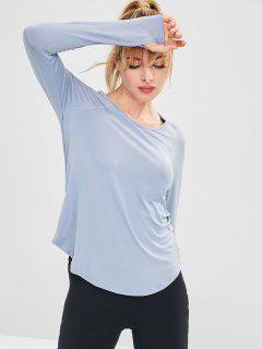 Raglan Sleeve Hollow Out T-shirt With Armhole - Blue Gray M