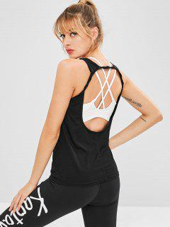 Sport Cut Out Athletic Tank Top - Black S