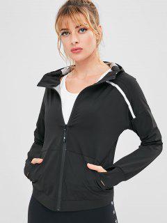 Zip Up Sport Hooded Jacket - Black L