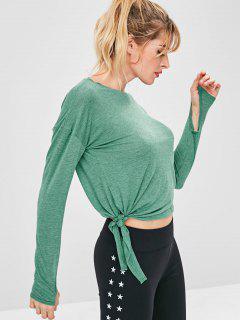 Armhole Drop Shoulder Crop T-shirt - Green L