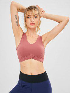 V Neck Gym Yoga Tank Bra - Light Coral S