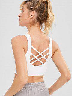 Strappy Mesh Panel Sport Gym Bra - White M