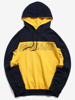 Colorblock Letter Pullover Hoodie - Bee Yellow L