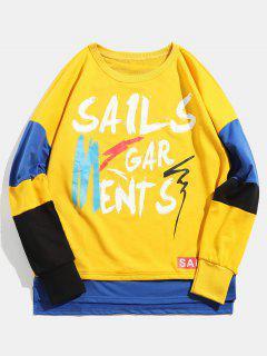 Letter Printed Round Neck Asymmetric Sweatshirt - Yellow M