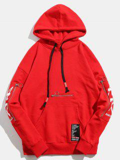 Skull Printed Sleeves Zip Pocket Pullover Hoodie - Red M