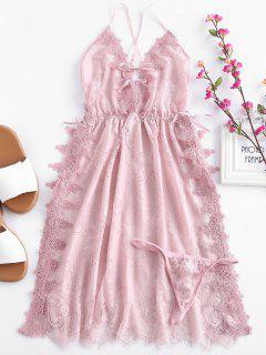 Slit Lace Insert Lingerie Dress - Pink