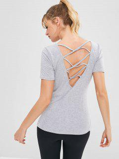Sport Criss Cross Casual Tee - Light Gray M