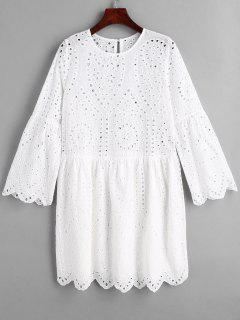 Scalloped Hem Hollow Out Dress - White Xl