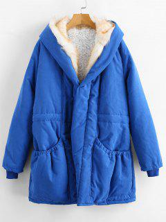 Open Front Fur Collar Hooded Coat - Dodger Blue L