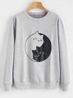 Kitten Print Graphic Sweatshirt - Gray L