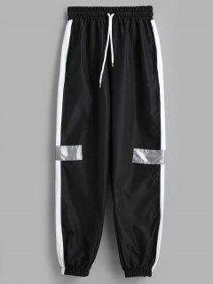 Hit Color Patchwork Jogger Pants - Black M