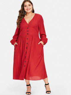 Shirred Waisted Plus Size Maxi Dress - Red 4x