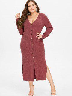 ZAFUL Plus Size Knit Slit Pocket Dress - Cherry Red 2x