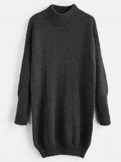 Mock Neck Shift Sweater Dress - Dark Gray