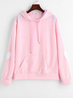 Heart Graphic Front Pocket Hoodie - Light Pink L