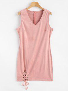 Faux Suede Lace Up Mini Bodycon Dress - Pink M