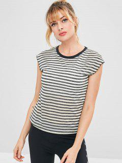 Striped Perforated Cap Sleeve T-shirt - Gray M