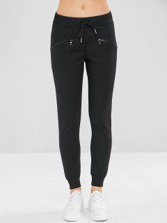 Zipper Pocket Drawstring Jogger Pants - Black L