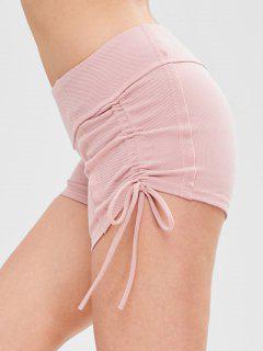 Ribbed Drawstring Athletic Gym Shorts - Pink L