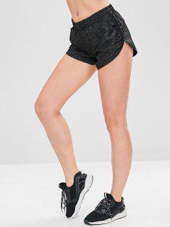 Pantalones Cortos Deportivos Con Bolsillos Geométricos - Negro L