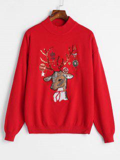 Suéter De Navidad Bordado Con Lentejuelas - Rojo