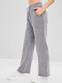 Drawstring Marled Raw Hem Sport Pants - Dark Gray M